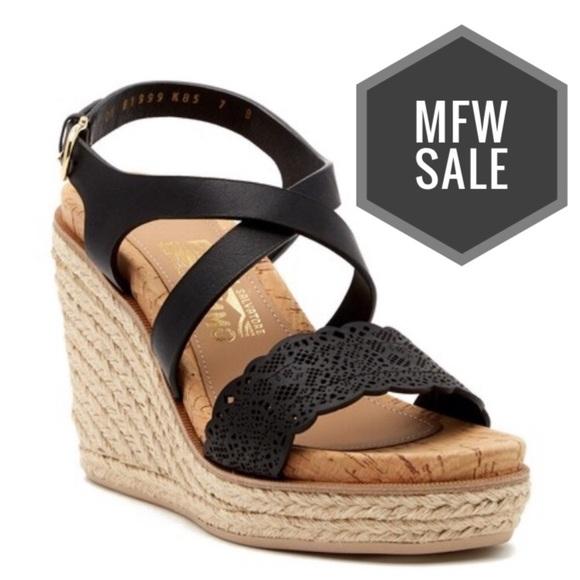 52b40a33829 SALVATORE FERRAGAMO Gioela Nero Wedge Sandals NWT